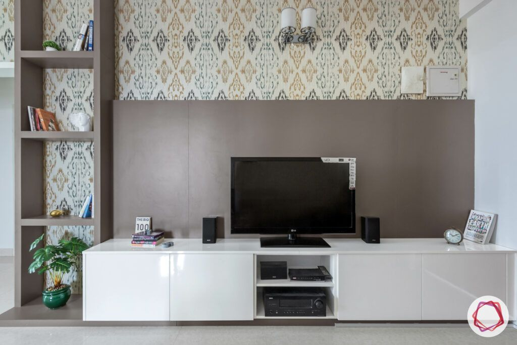 low budget home design-brown tv unit-motif wallpaper-open display unit