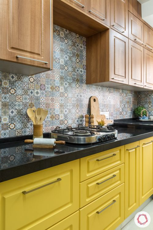 Livspace kitchen-parallel kitchen-yellow base cabinets-wooden top cabinets