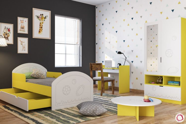 Kids wardrobe-yellow and white wardrobe-bed-activity table-study unit
