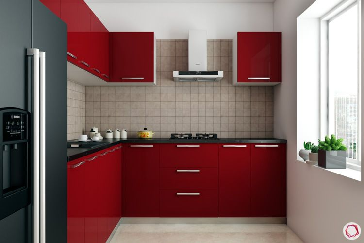 small compact kitchen ideas-red cabinets-compact kitchen-L-shaped kitchen