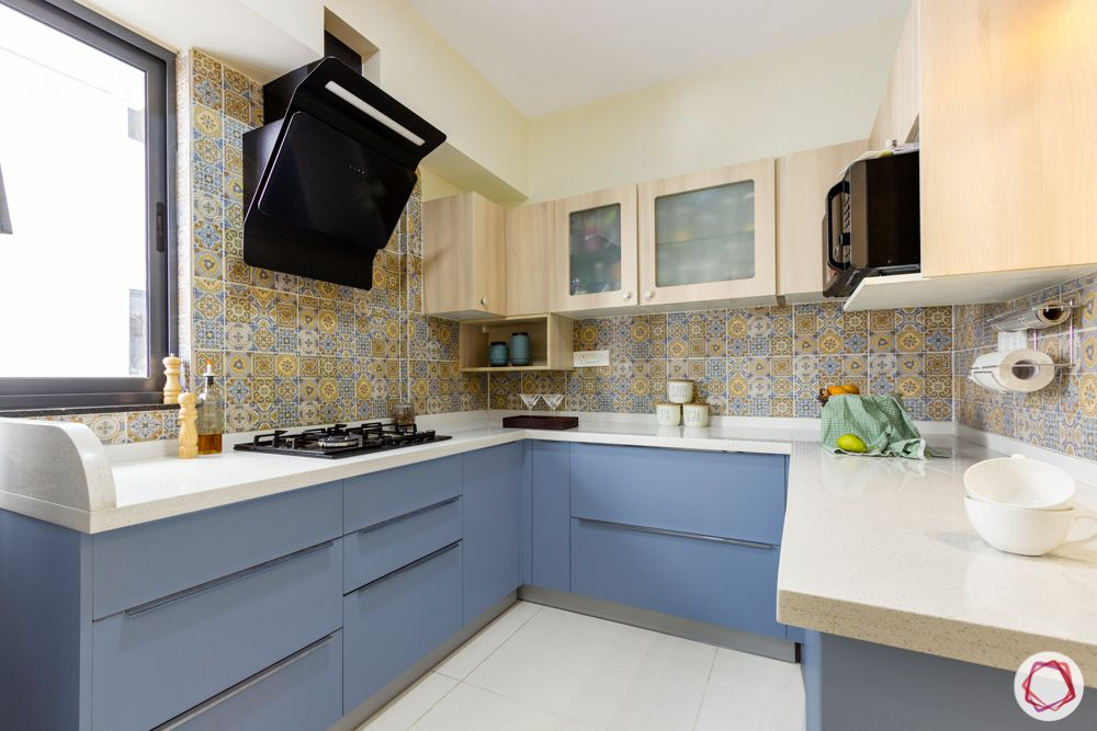 small compact kitchen ideas-blue and wood cabinets-compact kitchen-U-shaped kitchen