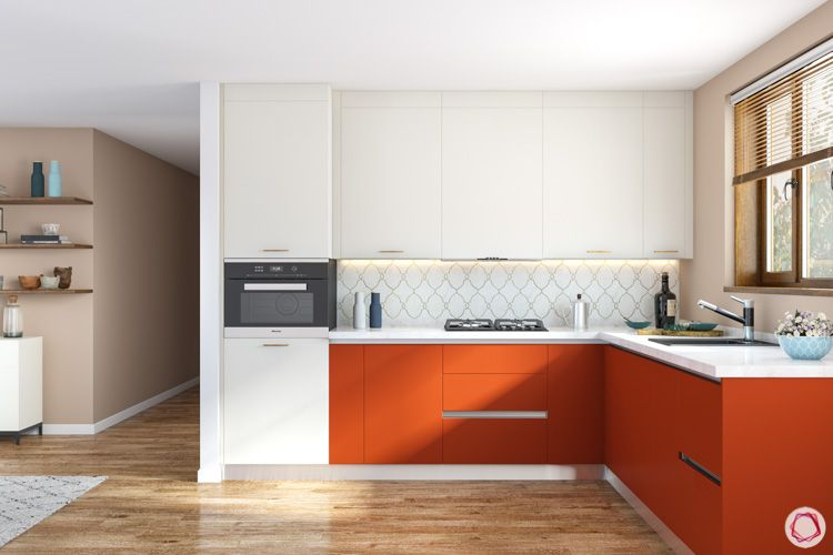 small compact kitchen ideas-white and orange cabinets-compact kitchen designs