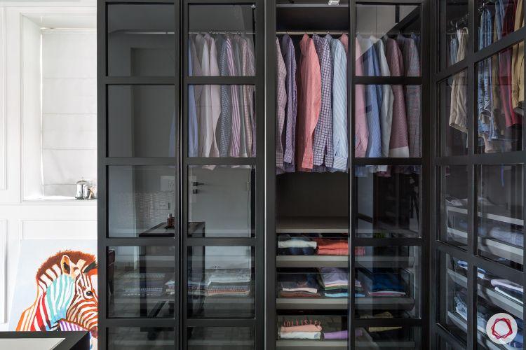 small room ideas-glass wardrobe-wardrobe accessories-clothes organisation
