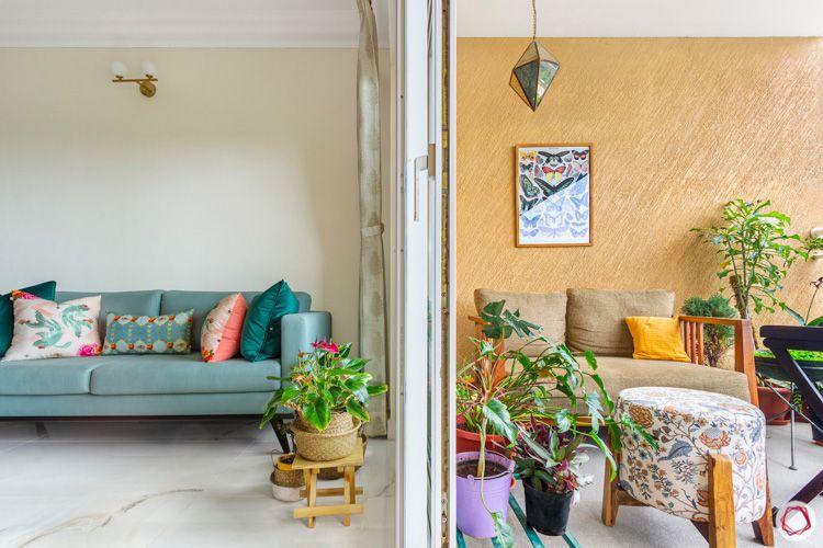 Shriram Chirping Woods-living-room-sofa-blue-balcony
