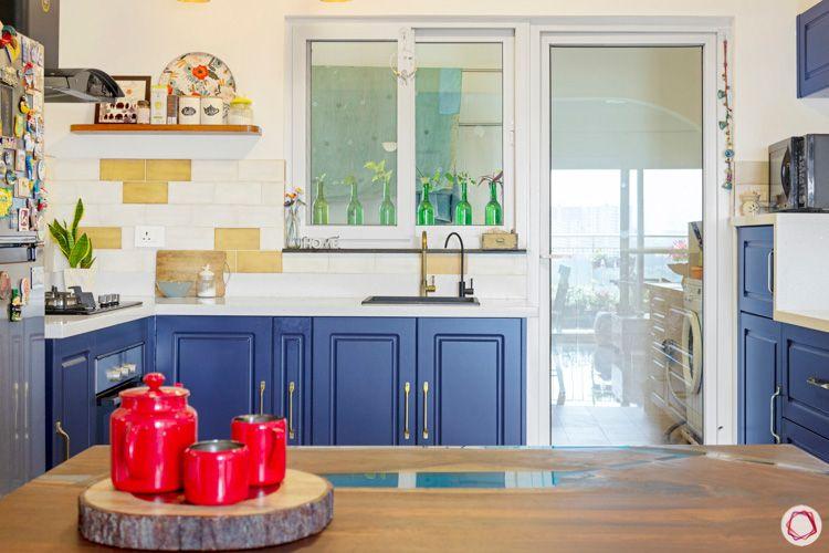 Shriram Chirping Woods-kitchen-blue-window-shelves