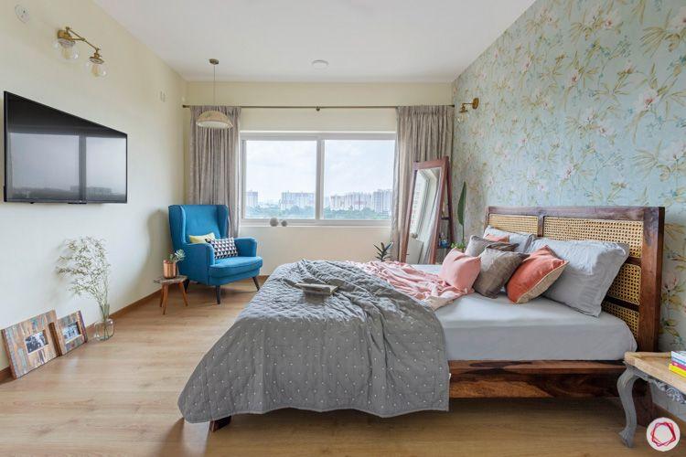 Shriram Chirping Woods-master-bedroom-bed-TV