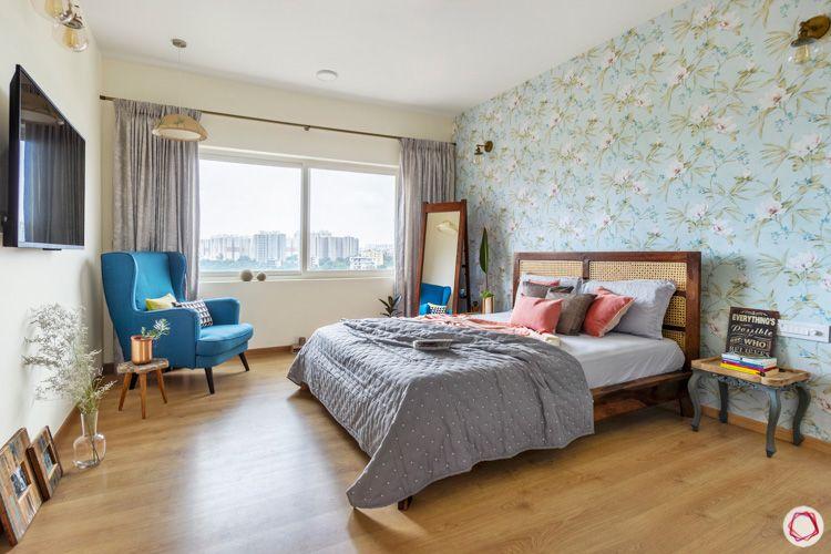 Shriram Chirping Woods-master-bedroom-bed-TV-armchair