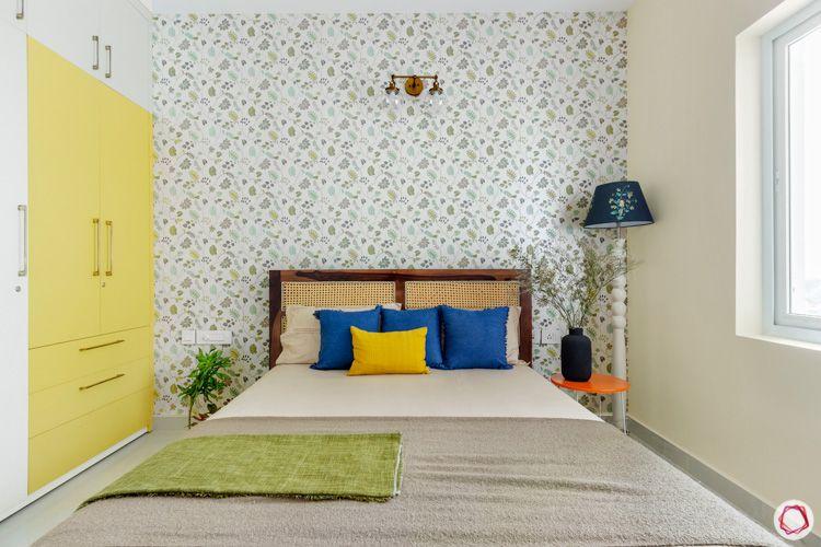 Shriram Chirping Woods-wallpaper-yellow-wardrobe-bedroom