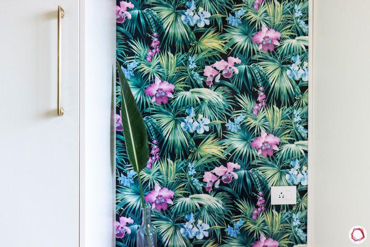 Shriram Chirping Woods-walk-in-wardrobe-white-floral-wallpaper