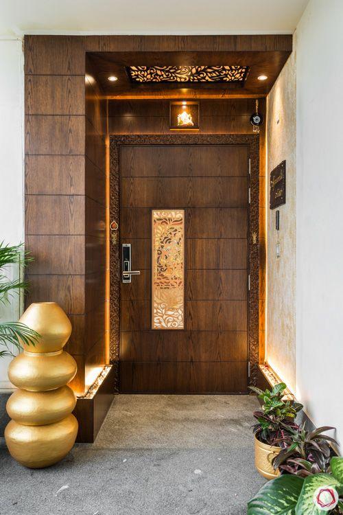 4 bhk flat-doorway-jaali-lighting-external entryway