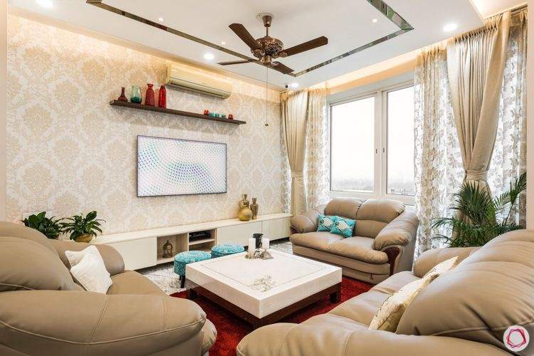4 bhk flat-living room layout-pooja room designs-sofa designs-false ceiling