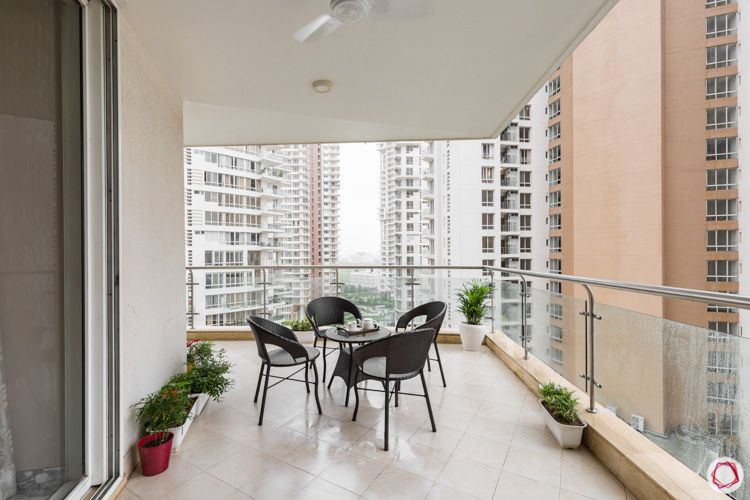4 bhk flat-balcony-wicker furniture
