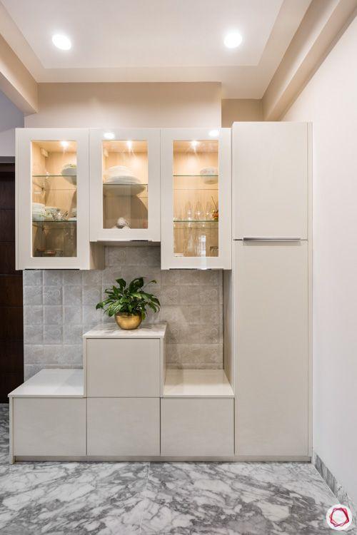 4 bhk flat-kitchen white cabinets-marble flooring-crockery cabinet designs-display unit