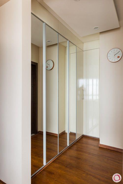 walk-in wardrobe-master bedroom-sliding wardrobe-mirror door designs