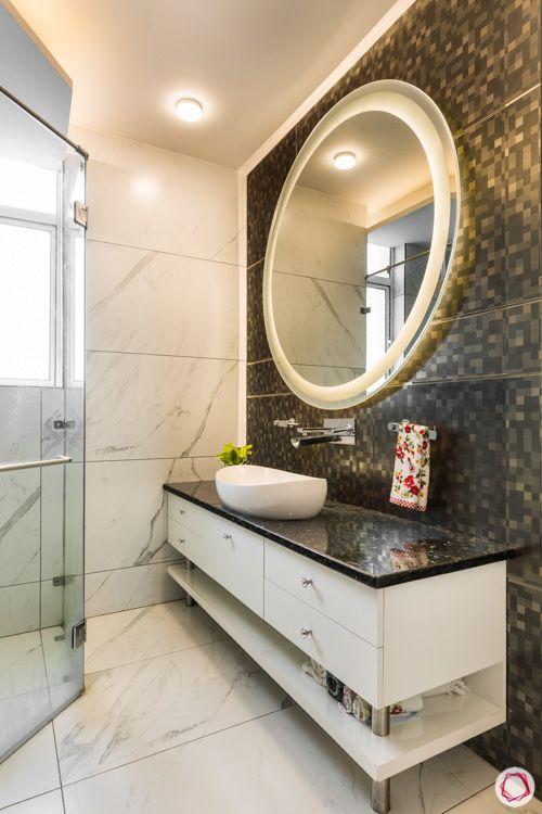 bathroom vanity-round mirror designs-backlit mirror-under counter storage