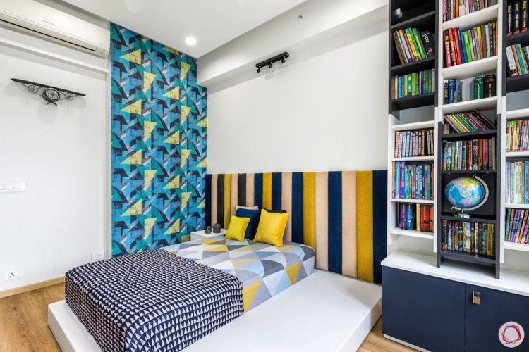 4 bhk flat-multi-coloured headboard-accent wall designs-geometric wallpaper-blue wallpaper designs
