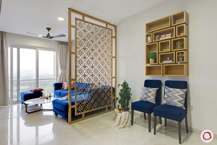 How to Reduce Interior Design Cost-jaali-divider-living-room-foyer