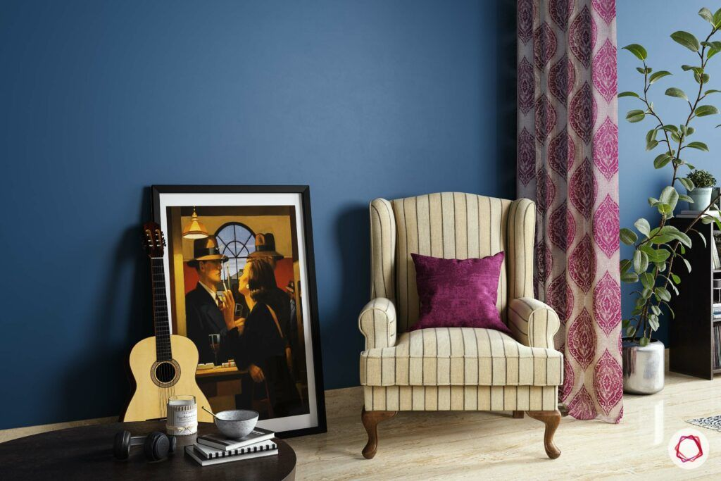 types-of-chairs-armchair-beige-stripped-blue-wall-painting
