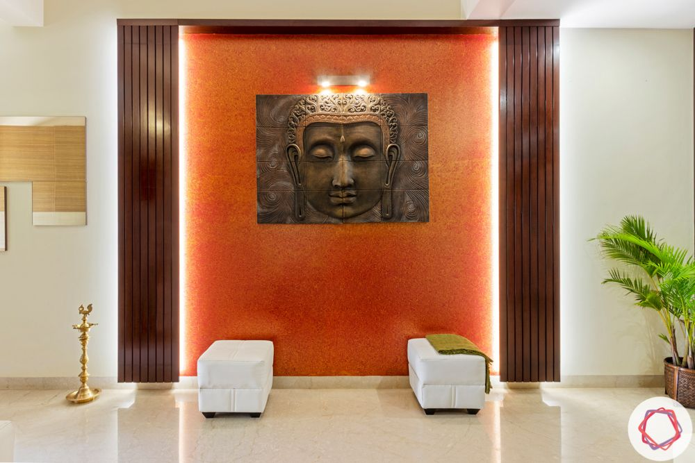 nambiar bellezea-living room-backlight wall-accent wall-buddha wall mount