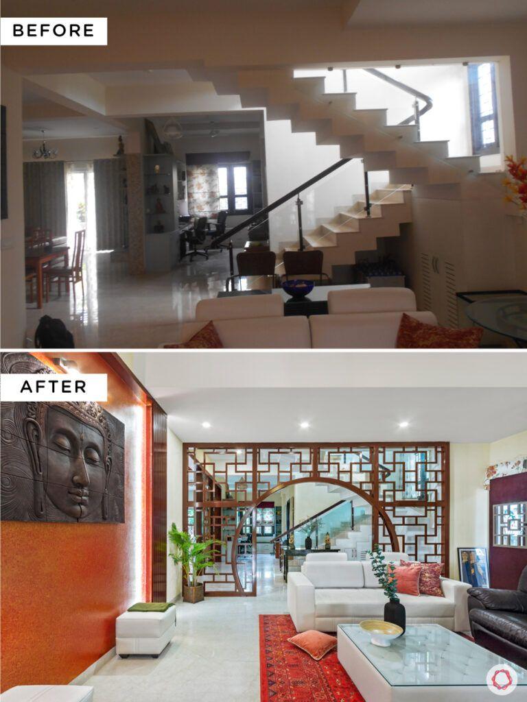 nambiar bellezea-staircase design-mdf partition design-backlit wall