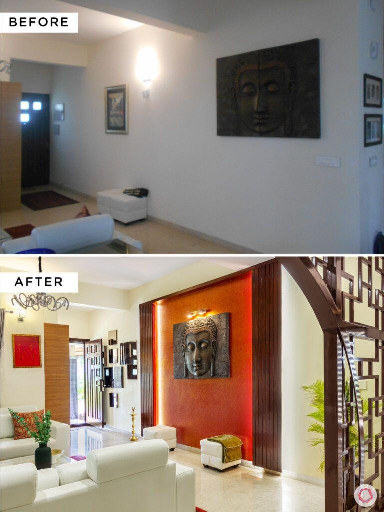 nambiar bellezea-orange wall-backlight-mdf jaali designs-buddha wall mount