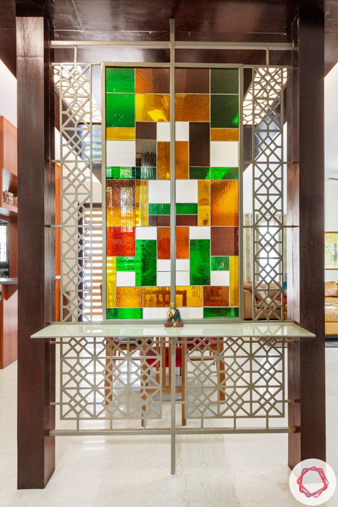 nambiar bellezea-dining room-stained glass-colourful glass partition-CNC jaali