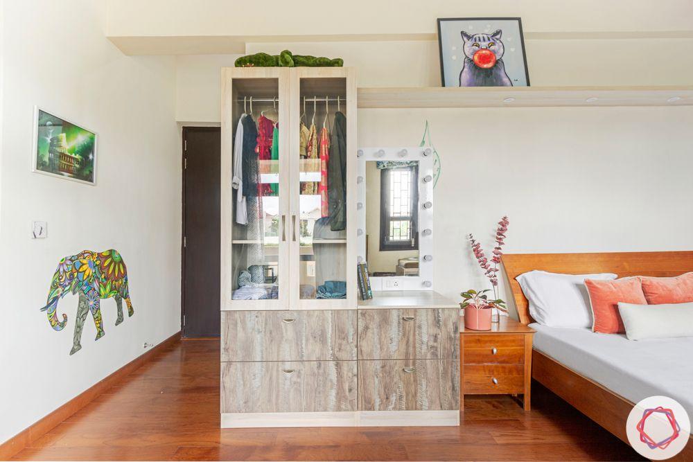 vanity and wardrobe unit-wood side table