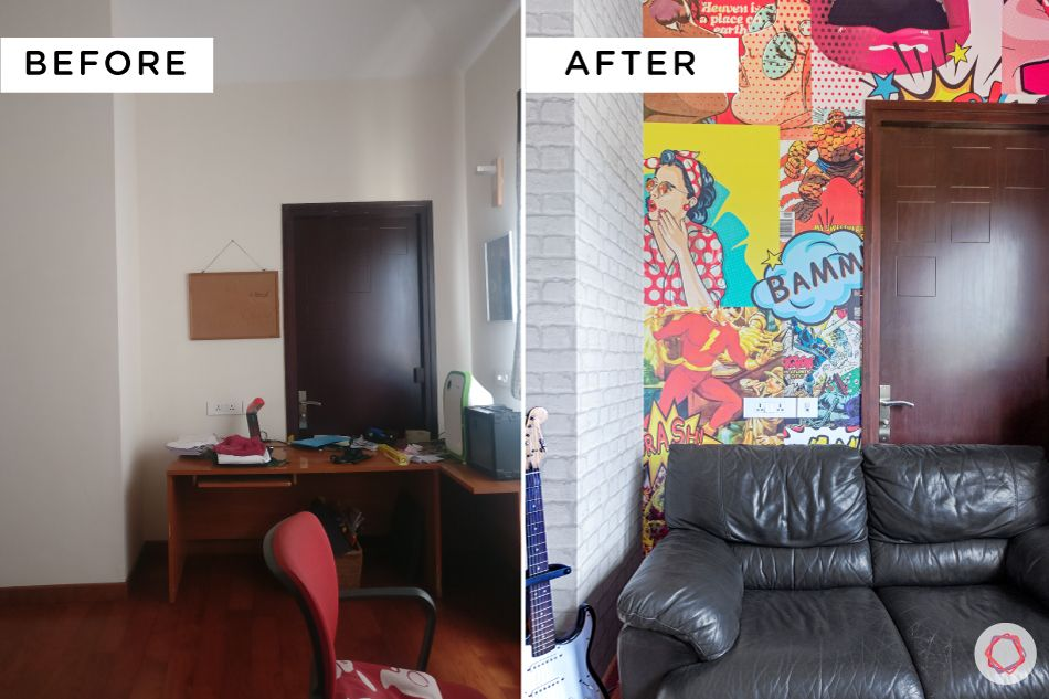 pop art wallpaper-black sofa-before and after