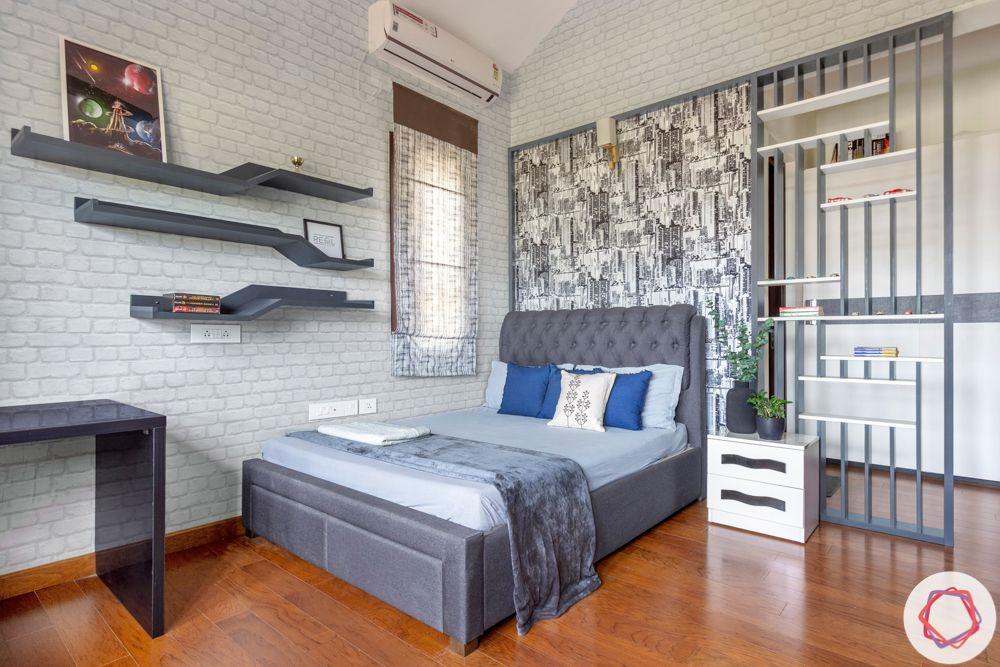 nambiar bellezea-grey headboard-grey partition-grey bed designs