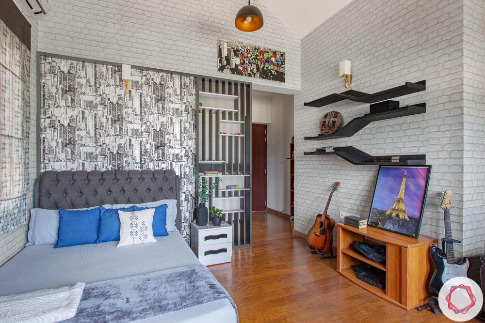 nambiar bellezea-grey headboard-grey partition-grey bed designs-floating shelves