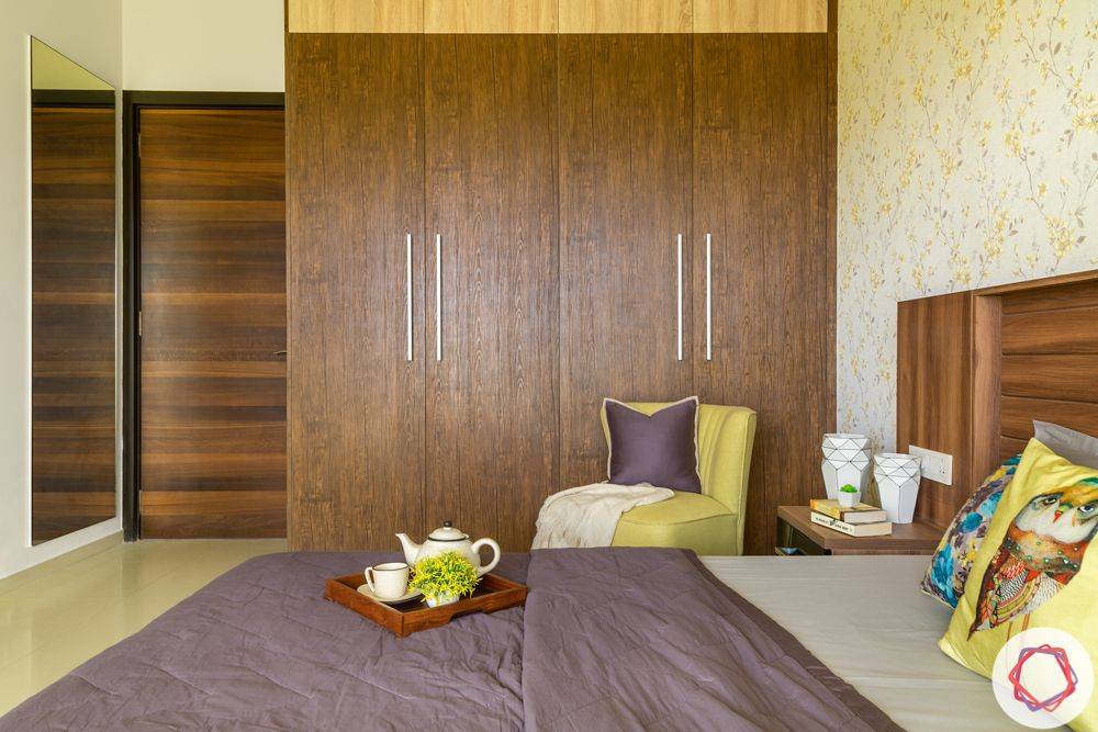 Wooden wardrobe-bedroom-dark wood grains-t bar handles
