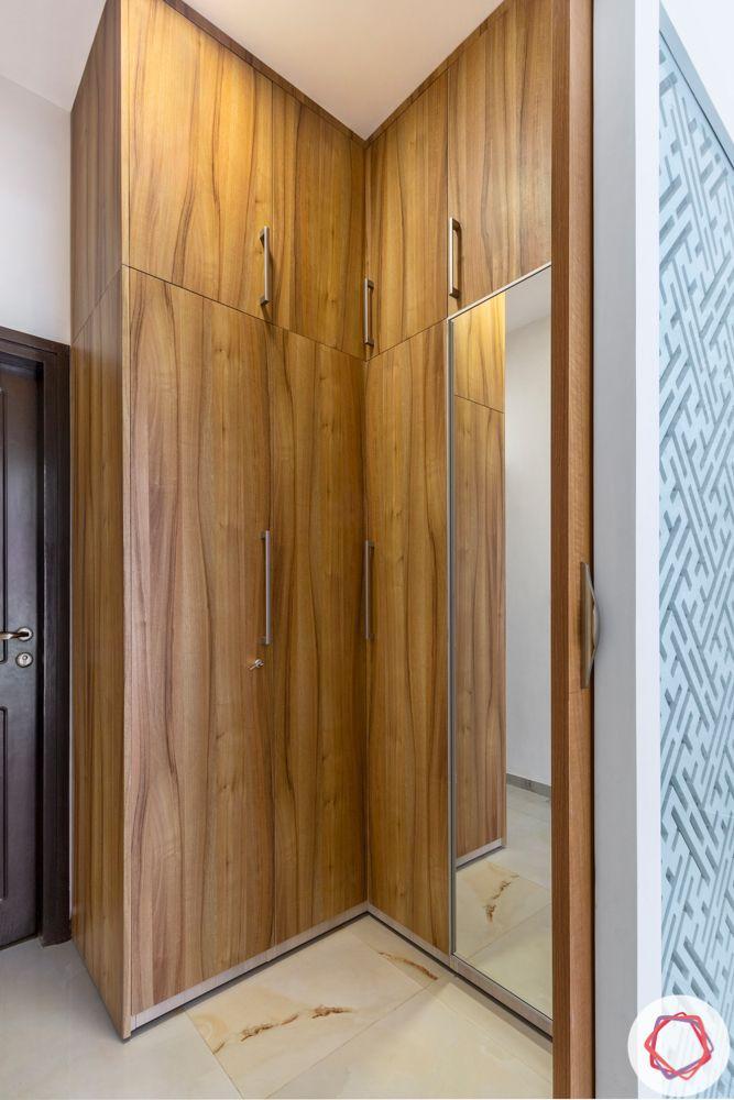 Wooden wardrobe-corner-loft-mirror