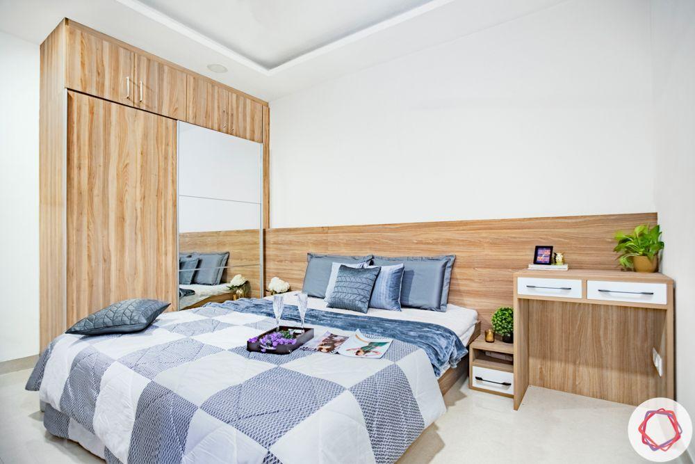 Wooden wardrobe-mirror-study table-bedroom
