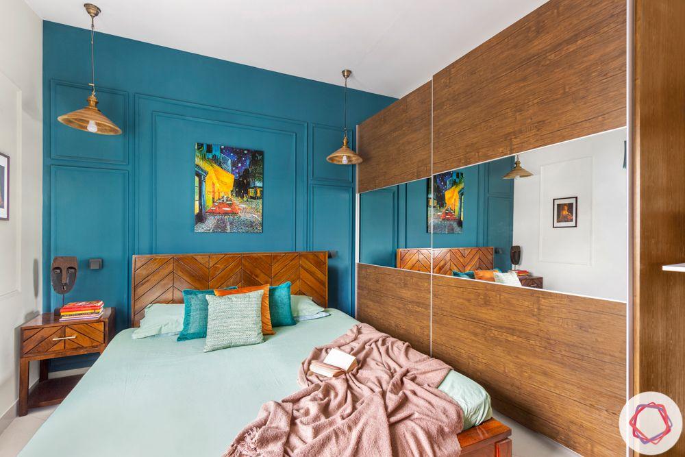 Wooden wardrobe-mirror panel-bedroom-wall grooving-wooden headboard