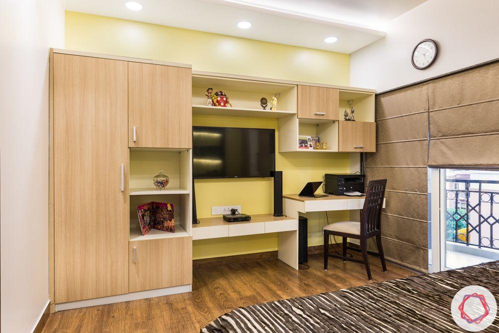 Wooden wardrobe-multifunctional-tv unit-study table
