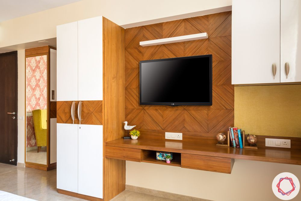 tv unit-white and brown-handle design