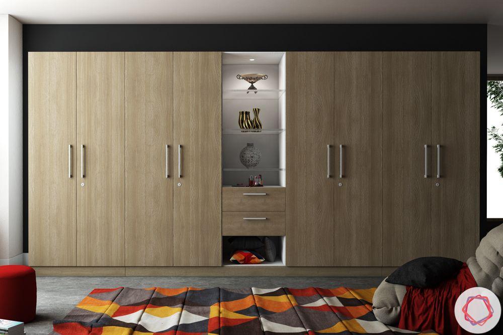 Wooden wardrobe-display shelf-light hues