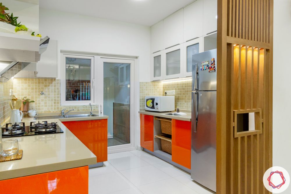 room partition ideas-wooden rafters partition-kitchen partition-orange and white cabinets