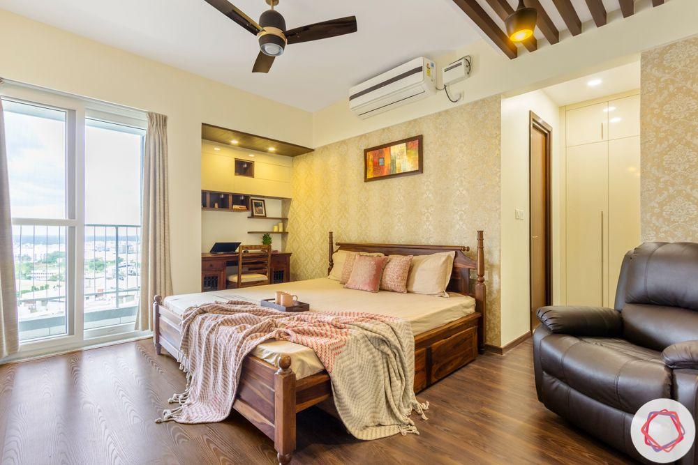 3BHK interior design-master-bedroom-wooden-bed-study-flooring