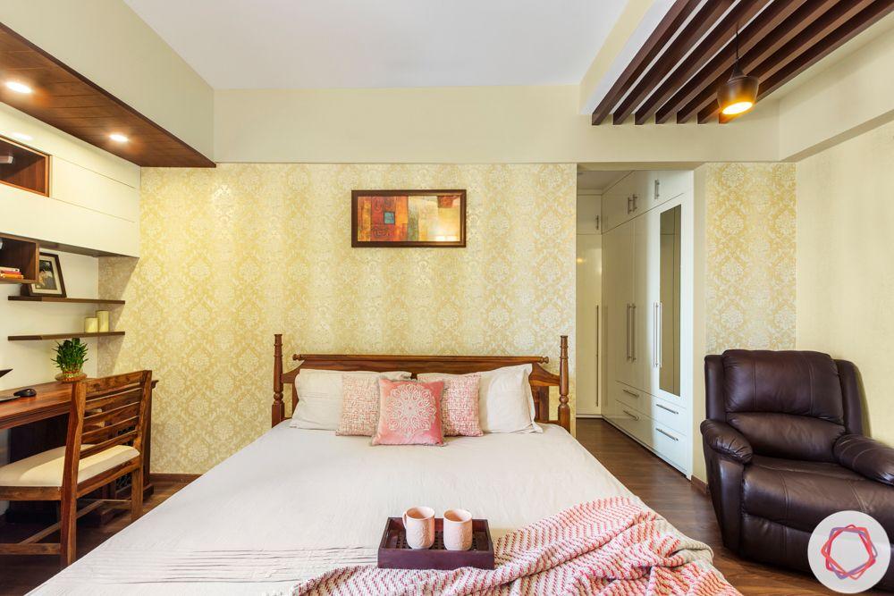 3BHK interior design-master-bedroom-rafters-study-walk-in-wardrobe