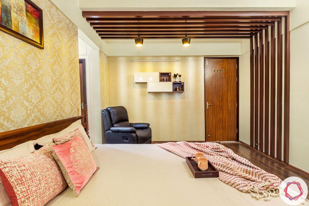 3BHK interior design-master-bedroom-wooden-rafters-combination-wallpaper