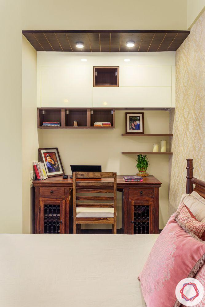 3BHK interior design-master-bedroom-study-laminate-wood-spotlights