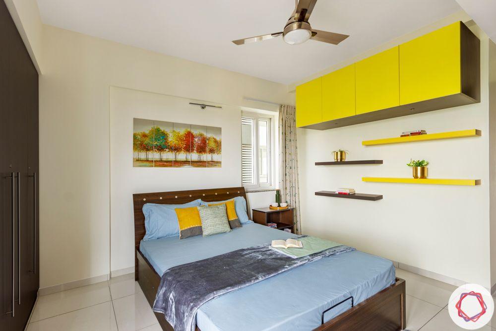 3BHK interior design-parents-bedroom-yellow-grey-lofts