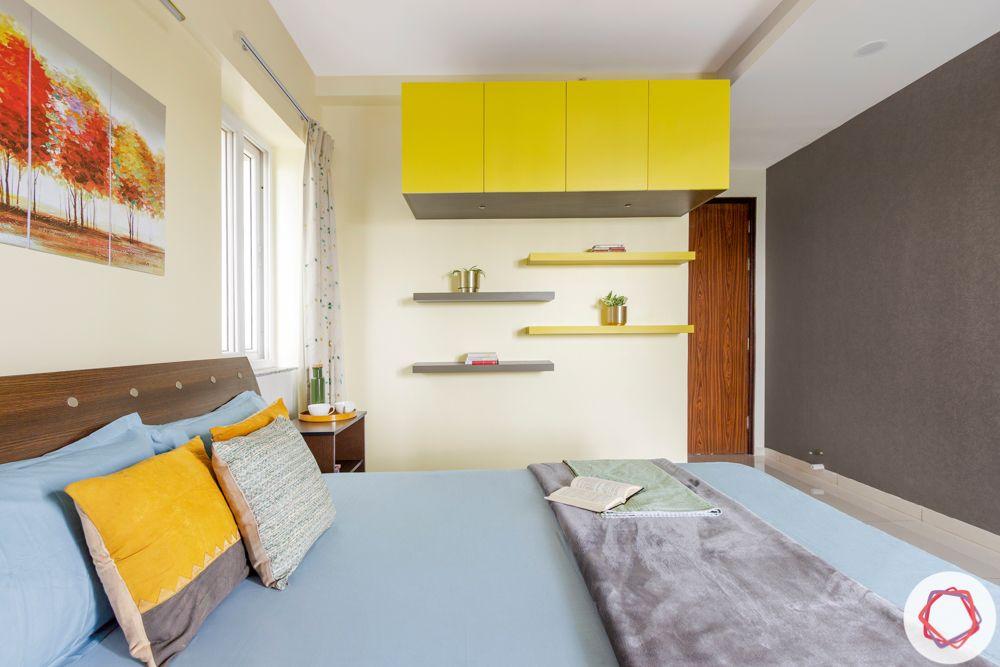 3BHK interior design-parents-bedroom-yellow-grey-wallpaper