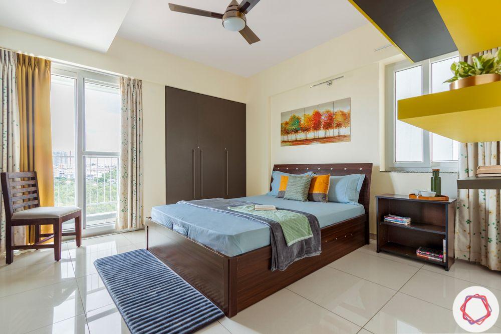 3BHK interior design-parents-bedroom-yellow-grey