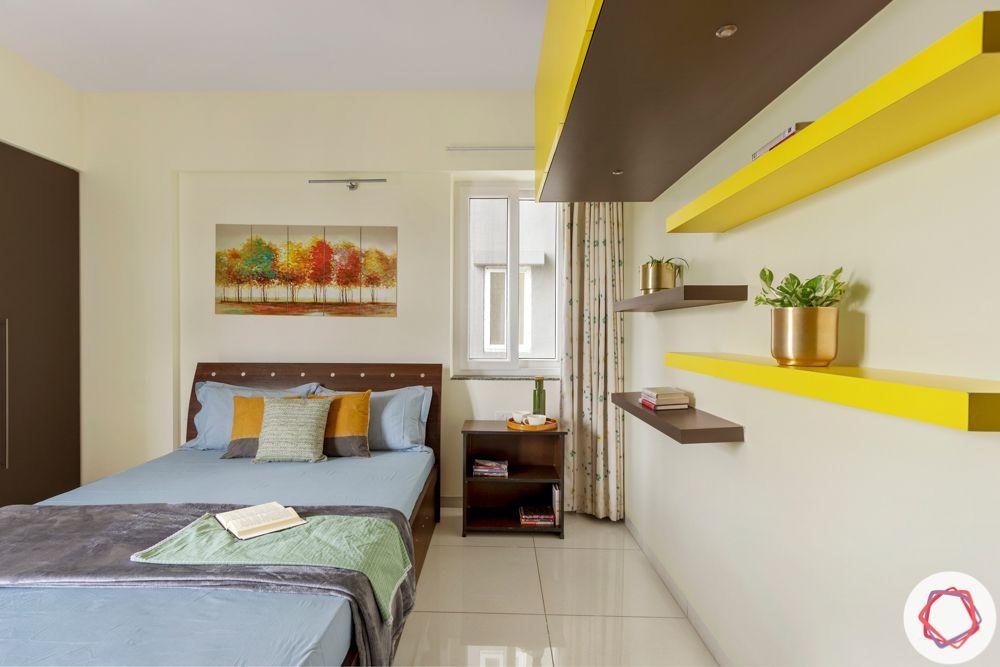 3BHK interior design-parents-bedroom-yellow-grey-shelves