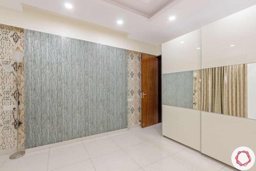 3BHK interior design-pooja-wallpaper-false-ceiling-wardrobe