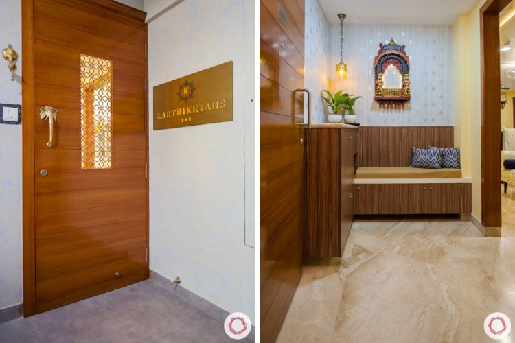 3bhk in pune-wooden door designs-jharoka designs-foyer seating ideas