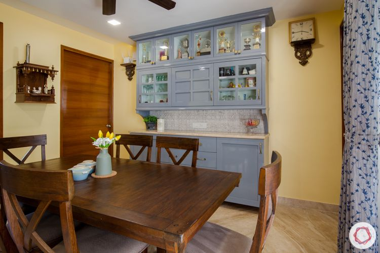 3bhk in pune-wooden dining table designs-grey crockery cabinet