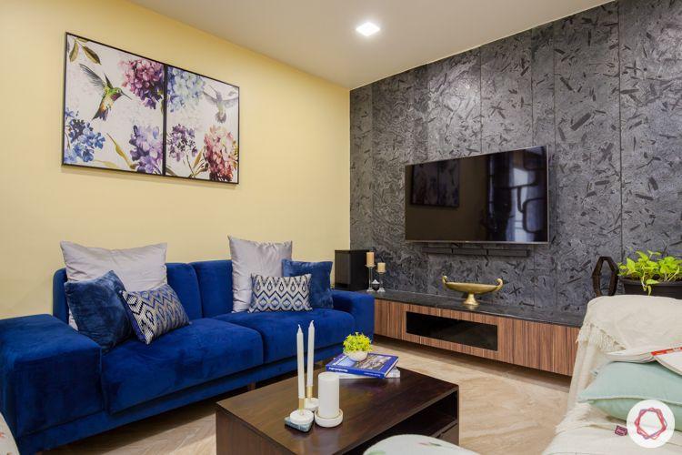 3bhk in pune-wall claddin designs-blue sofa designs